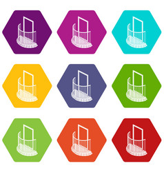 one door balcony icons set 9 vector image
