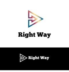 outline arrow in triangle negative space vector image