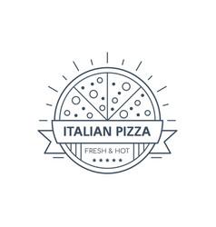pizza badge design line art vector image