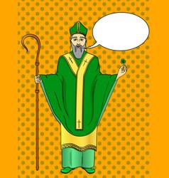 Pop art patron saint of ireland saint patrick vector