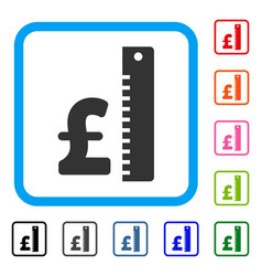 Pound rate framed icon vector