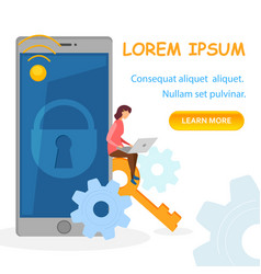 privacy application landing page template vector image