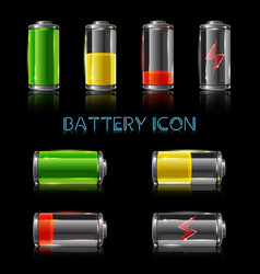 realistic icon set battery level indicators vector image