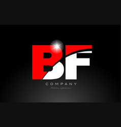 Red white color letter combination bf b f vector
