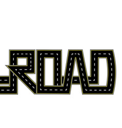 Road highway stylized inscription isolated vector
