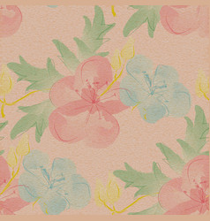 Seamless floral pattern large watercolor flowers vector