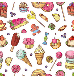 Seamless pattern of candies ice cream vector