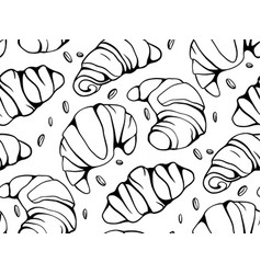 seamless pattern with cartoon croissants and nuts vector image