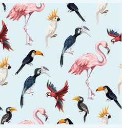 seamless pattern with junngle bird vector image