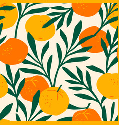 seamless pattern with mandarins trendy vector image