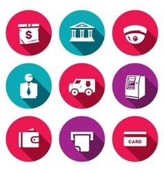 Set banking services icons money bag vector