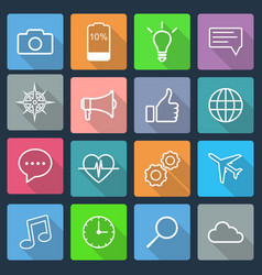 set flat icons for mobile app and web vector image