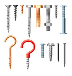 set of bolts nuts nails vector image
