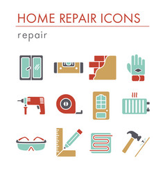set of building construction and home repair icons vector image