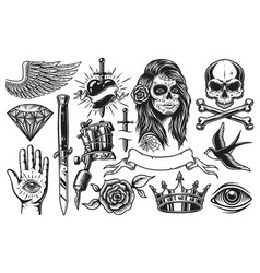 Set of vintage tattoo elements vector