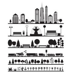 Silhouette City Park Forest Road Elements vector