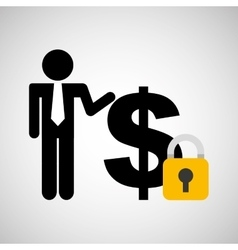 Silhouette man finance money security vector