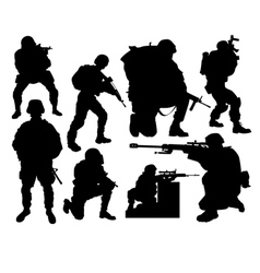 silhouettes of soldiers vector image