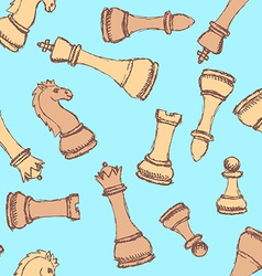 Sketch chess in vintage style vector image