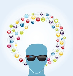 Social network smart glasses vector image