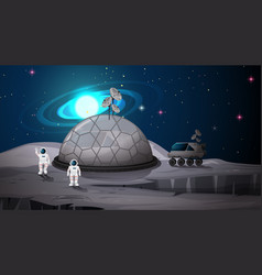 Space camp on planet scene vector