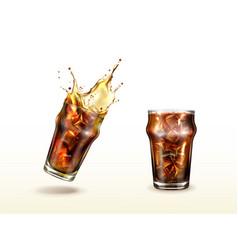 Splash cola soda cold tea or coffee with ice vector