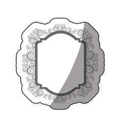 Sticker gray scale curved rectangle heraldic vector