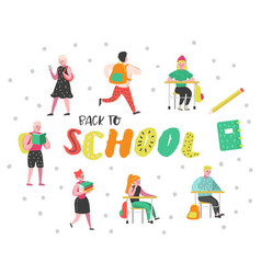 Students and pupils characters set back to school vector