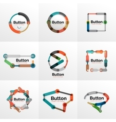 Thin line design geometric button set flat vector image