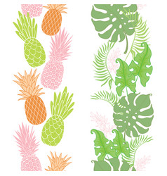 Tropical pineapples leaves borders frames set vector