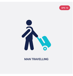 Two color man travelling icon from behavior vector