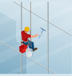 washing and cleaning the window with a squeegee vector image