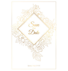 Wedding invitation card template with roses peony vector