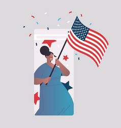Woman holding usa flag celebrating 4th july vector