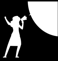 woman with megaphone woman silhouette with speech vector image