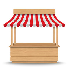 Wooden market stand stall vector