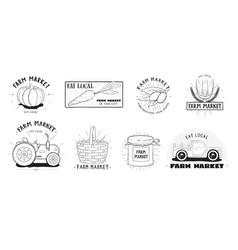 fresh food labels set farm market various logo vector image vector image
