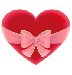 Heart tied ribbon Heart shape gift for valentines vector image