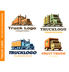 logo set with truck and trailer vector image