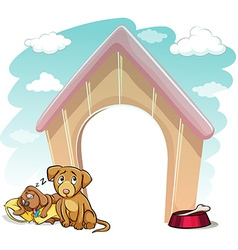 Puppies outside the doghouse vector image