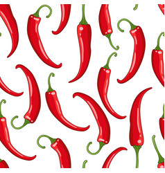 seamless pattern white with chilli pepper vector image