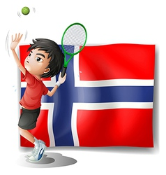 A boy playing tennis in front of the Bouvet Island vector image vector image