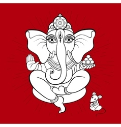 Ganesha and mouse vector