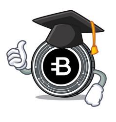 Graduation bytecoin coin character cartoon vector