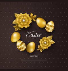 Happy easter background with golden eggs and vector