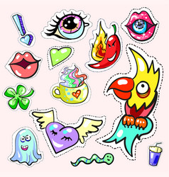 pop art stickers collection set fashion patch vector image vector image