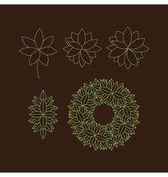 Set Floral Elements Linear Style Line Art vector image