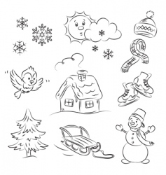 winter set vector image vector image