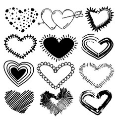 doodles set of valentines day hearts vector image