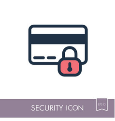 Secured credit card icon vector